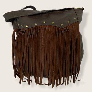 Roxy Boho Brown Fringe Shoulder Bag Purse Bohemian